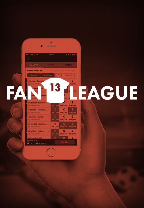 A person holding a phone. Above is a illustrated phone and the text FanLeague.