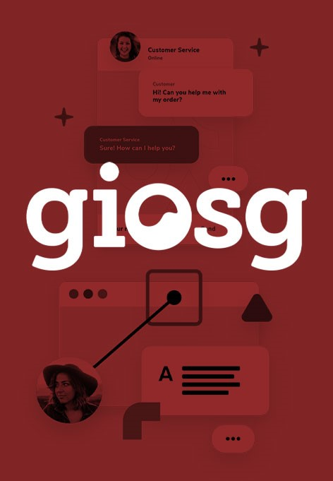 Collage of several elements. Above is a text saying Giosg.