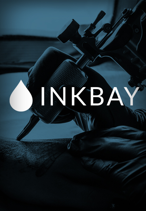 A tattoo needle. Above is a text saying Inkbay.