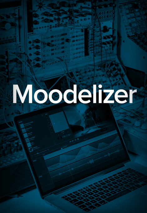 A laptop in an network environment. Above is a text saying Moodelizer.