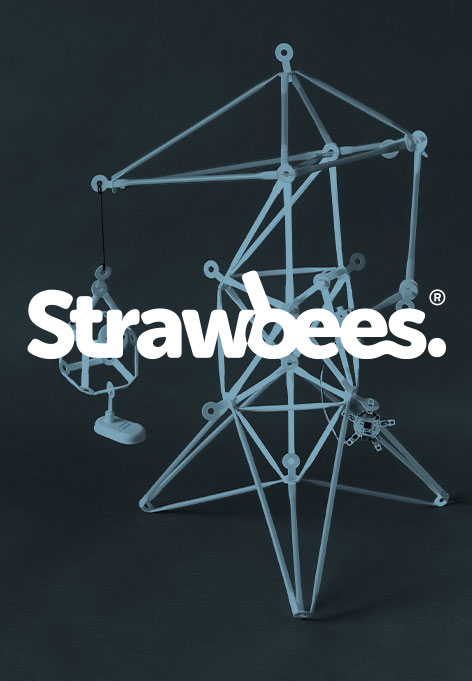 Closeup of an abstract object. Above is a text saying Strawbees.