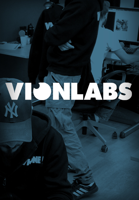 People in an office environment. Above is a text saying Vionlabs.