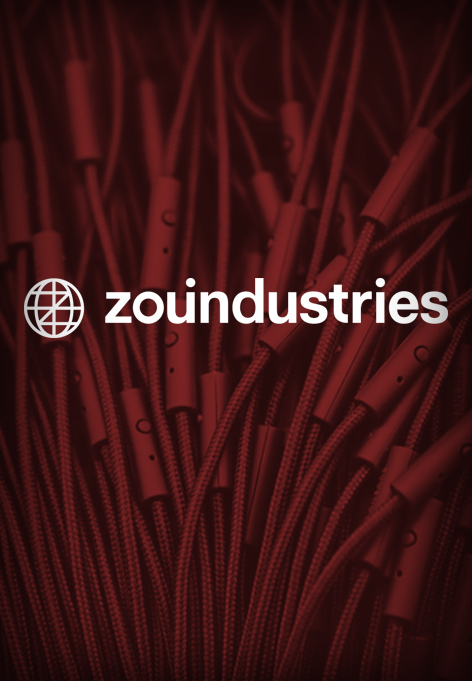 Close of headphone cables. Above is a text saying ZoundIndustries.