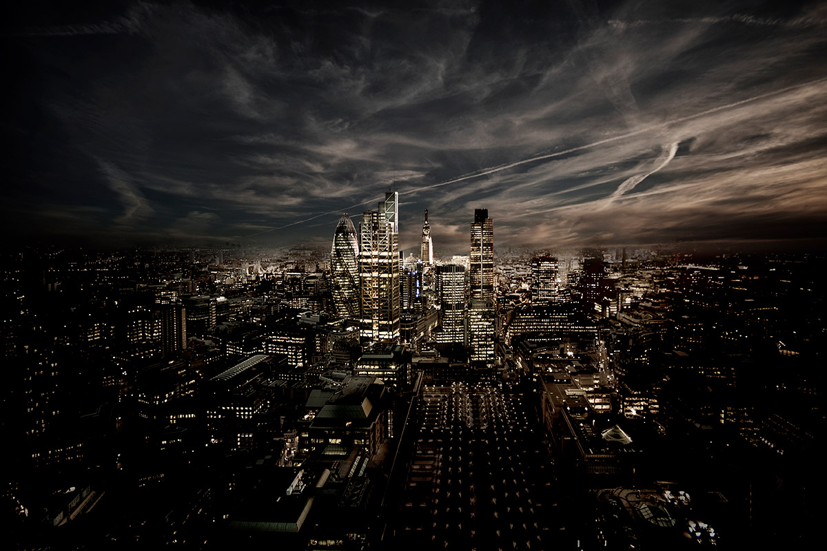 Arieal view of London during night time